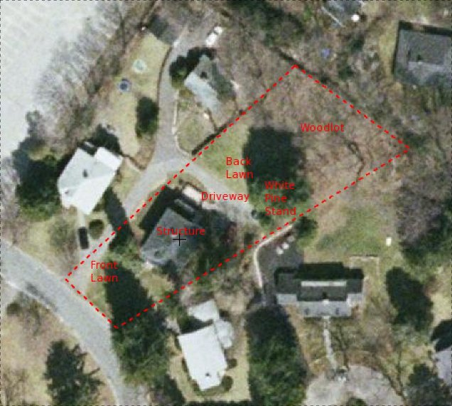 Aerial photograph of our property with a dashed parcel boundary and area labels