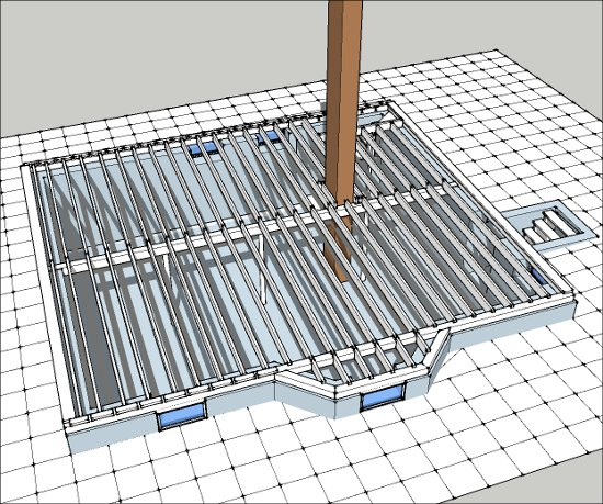 Cellar framing modelled in SketchUp
