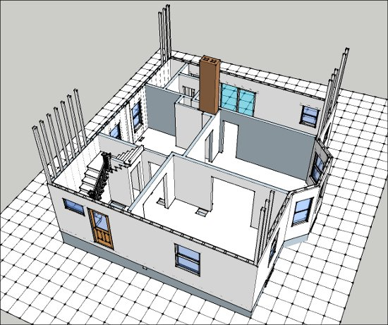 First floor SketchUp model of exterior walls, windows, doors and stairs