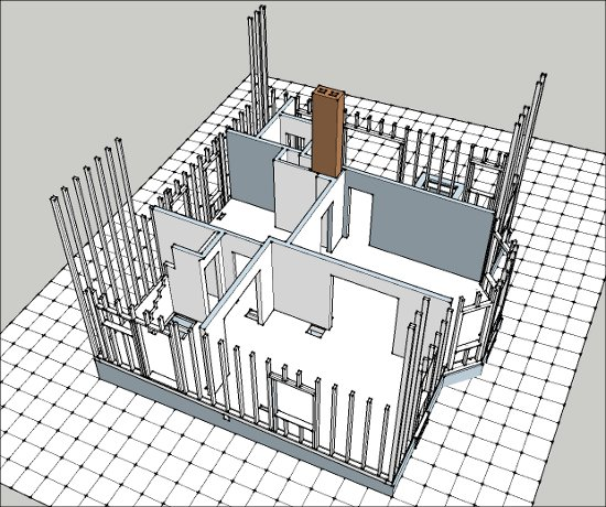First floor SketchUp model of floor, frame and interior walls