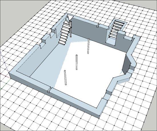 Cellar foundation in SketchUp