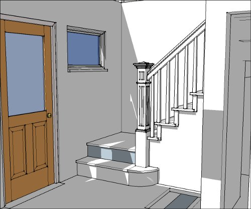 First floor foyer and staircase model with Newell post