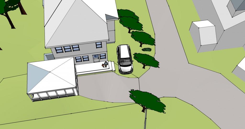 Plan view of corner parking spot idea