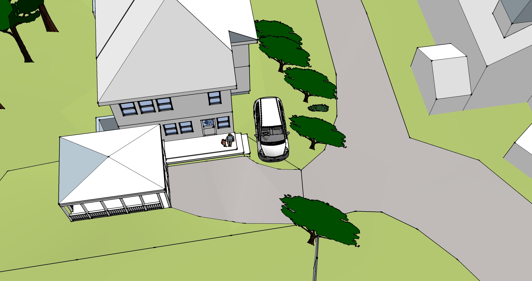 Plan view of corner parking spot idea