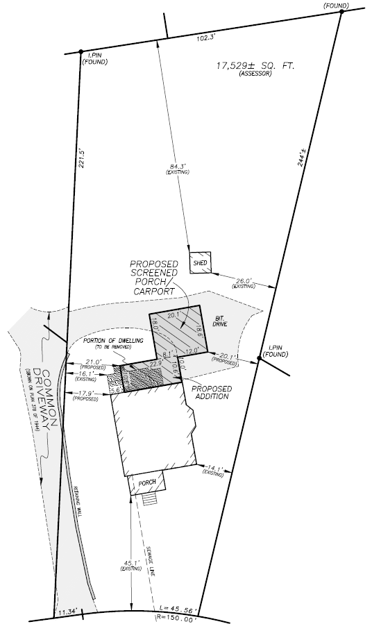 Site plan for review by the zoning board